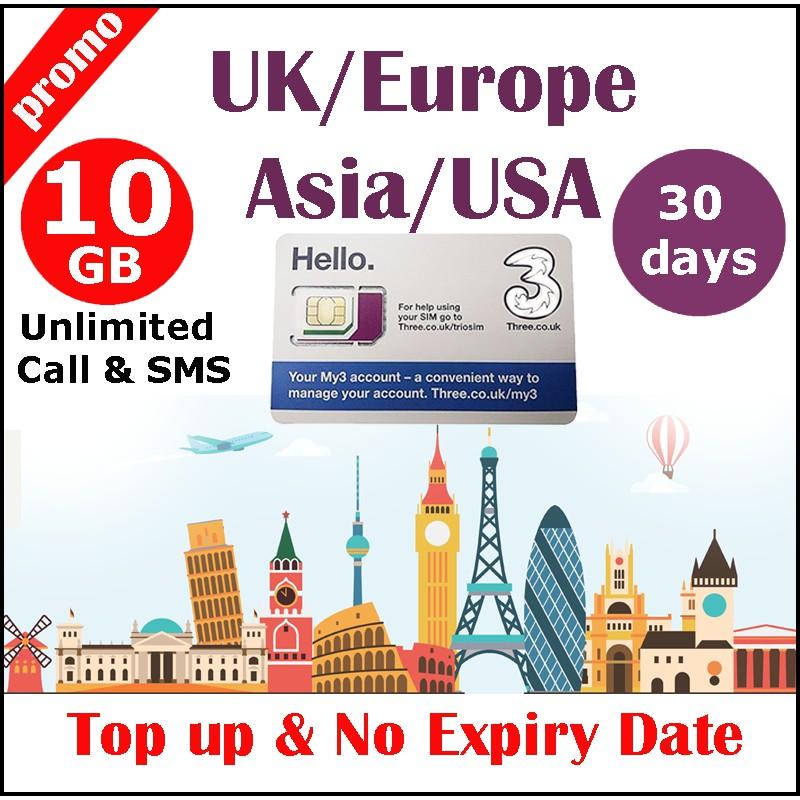 Europe USA HK SG UK World THREE Travel Sim Card 5GB + 5GB Unlimited Data  +Calls SMS for 30 days
