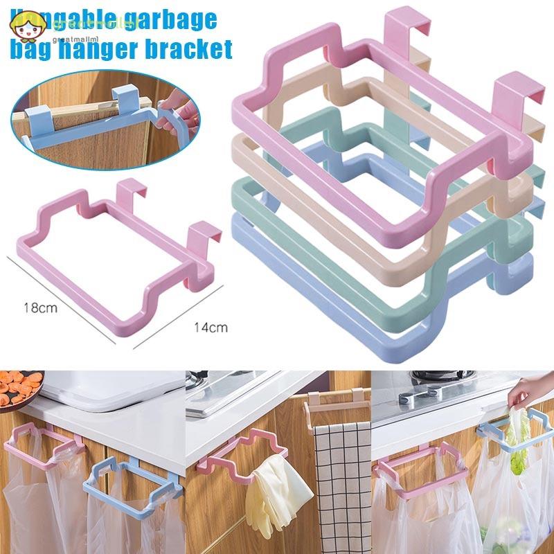 Plastic Door-back Garbage Trash Bag Bracket Rack Hanging Holder Kitchen Tool CF