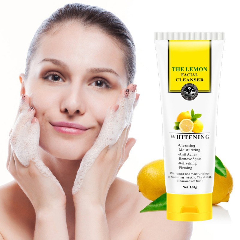 Lemon Facial Cleanser Moisturizing Oil-Control Anti-Acne Anti-Drying Shrink Pore