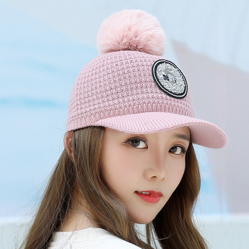 90063f79e 2018 Autumn And Winter Hat Ladies Knit Warm Baseball Cap Outdoor Windproof