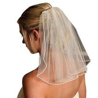 Tulle Wedding Veils Ribbon Edge Rhinestones Fake Pearls Short Hair Veil Comb Shopee Malaysia