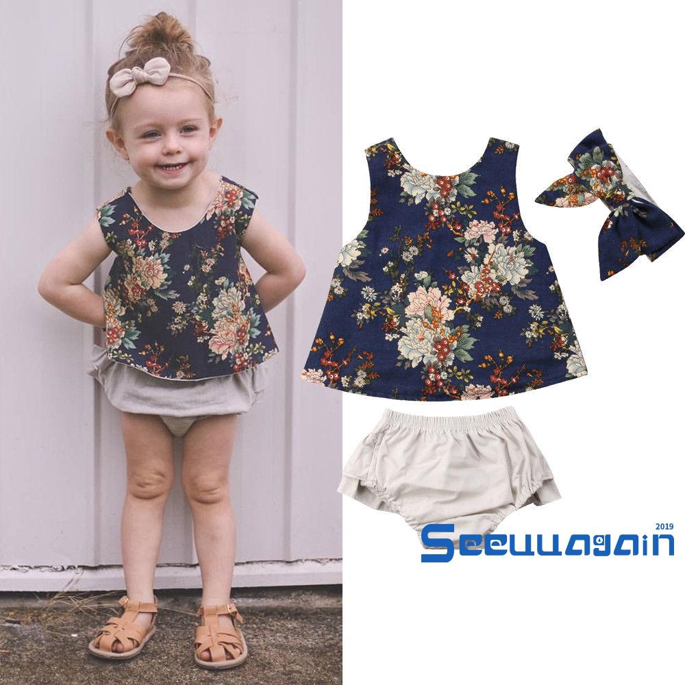 Toddler Baby Girls Kid Sleeveless Dot Straps Shirt Tops Floral Skirt Clothes Set