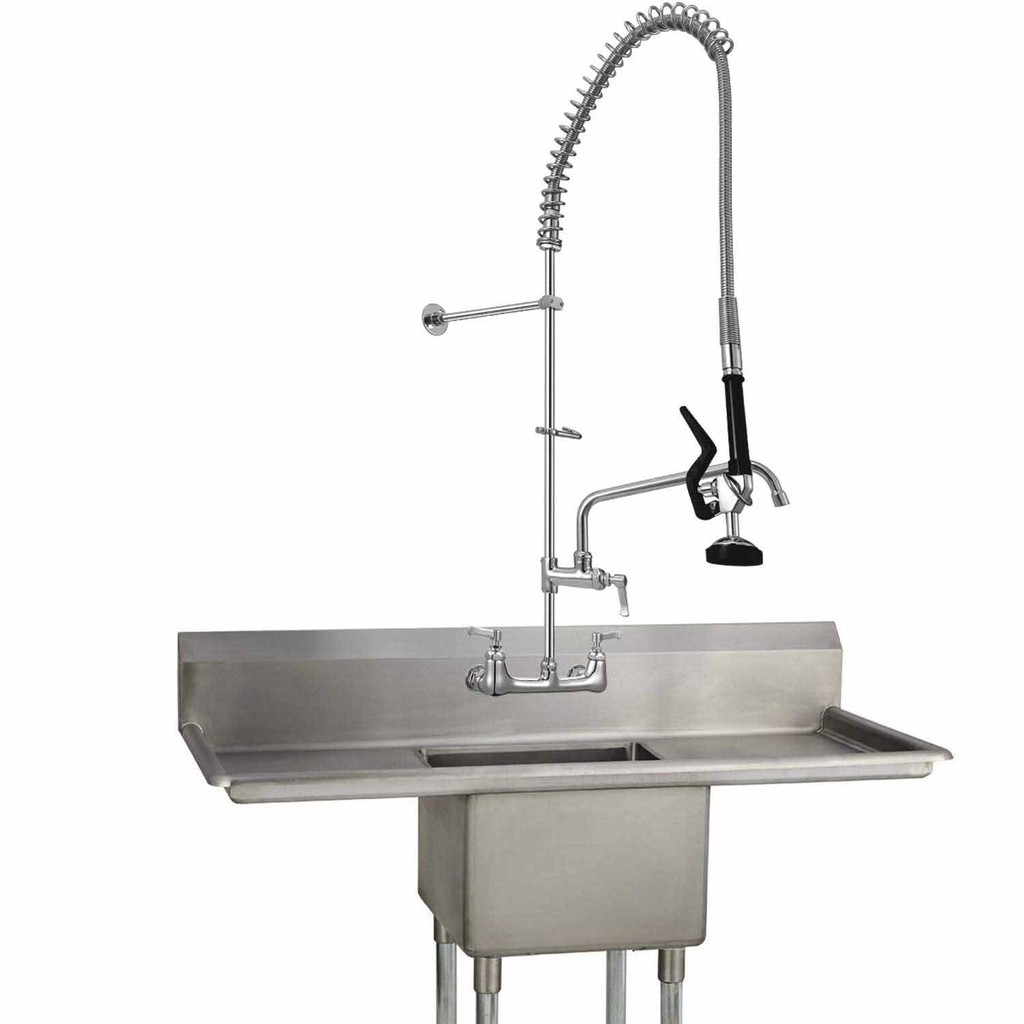 4ft commercial sink kitchen faucet pull down pre rinse sprayer 8 center wall mount 47 height with add on swing spout
