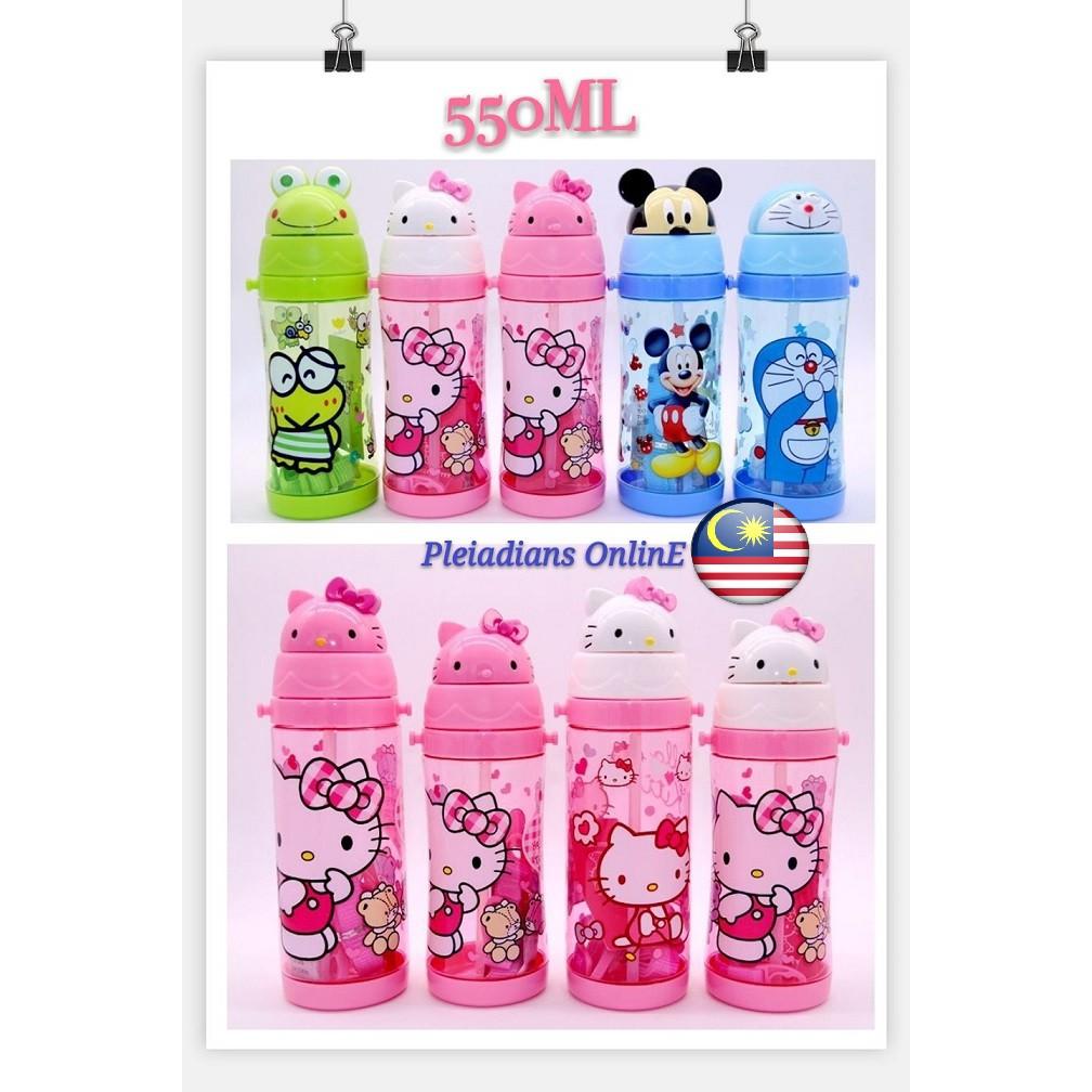 [ READY STOCK ]  550ML Hello Kitty Tritan Grade PP Straw Water Bottle BPA Kid Budak Baby Kitchen Jualan Murah Simpanan