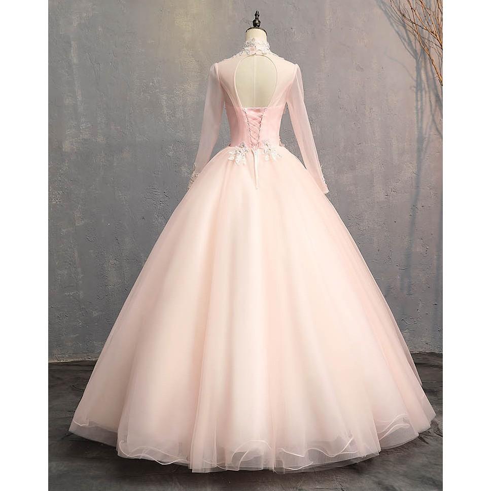 BEAUNIQUE Luxury Pastel Colour Tulle High Neck Baby Pink Muslimah Baju  Pengantin
