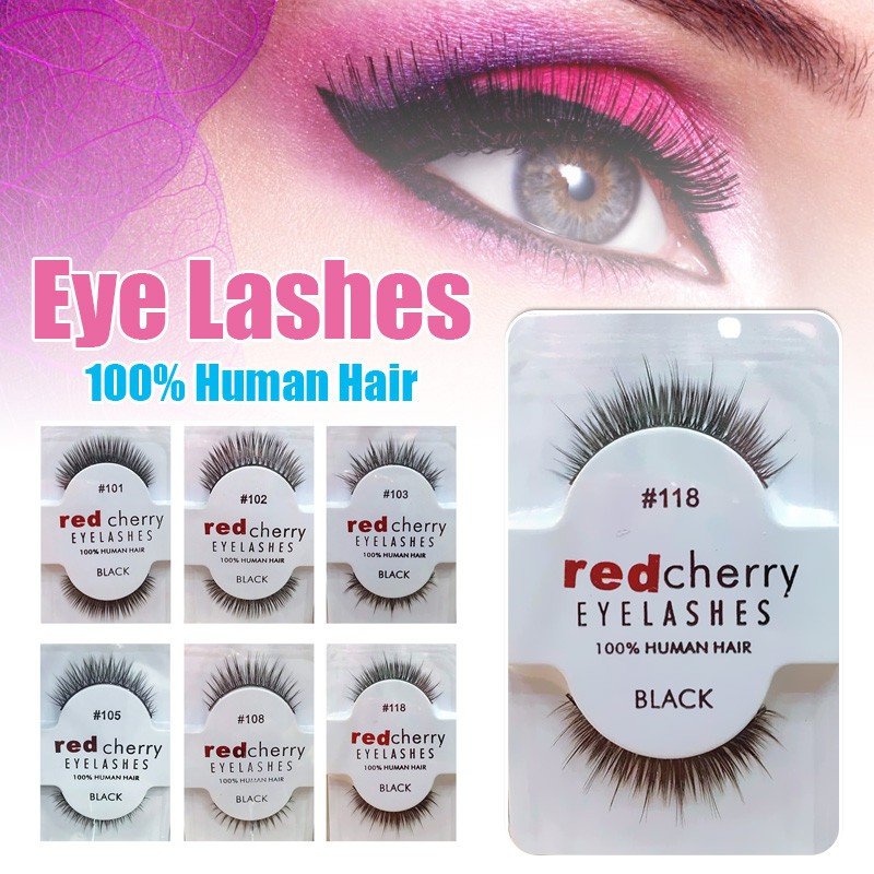 05367e936dc DF Black Human Hair False Eyelashes Lashes Pair Strip Cherry | Shopee  Malaysia