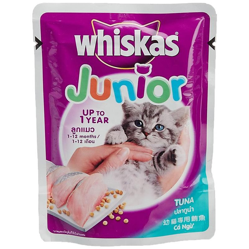 Whiskas Junior Tuna Food for Kittens & Young Cats 85g Pouch X 6