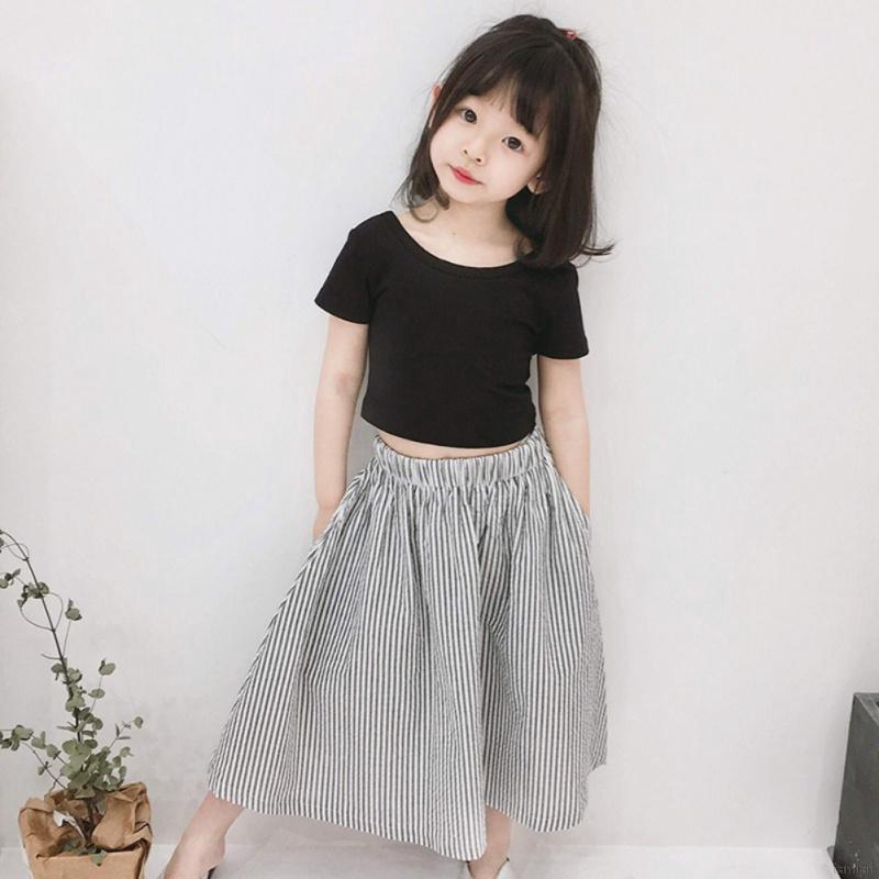 ✨KiKi💕 Baby Girls Dress Set Solid Color T-Shirt + Striped Skirt Kids Girls  Skirt Sets | Shopee Malaysia
