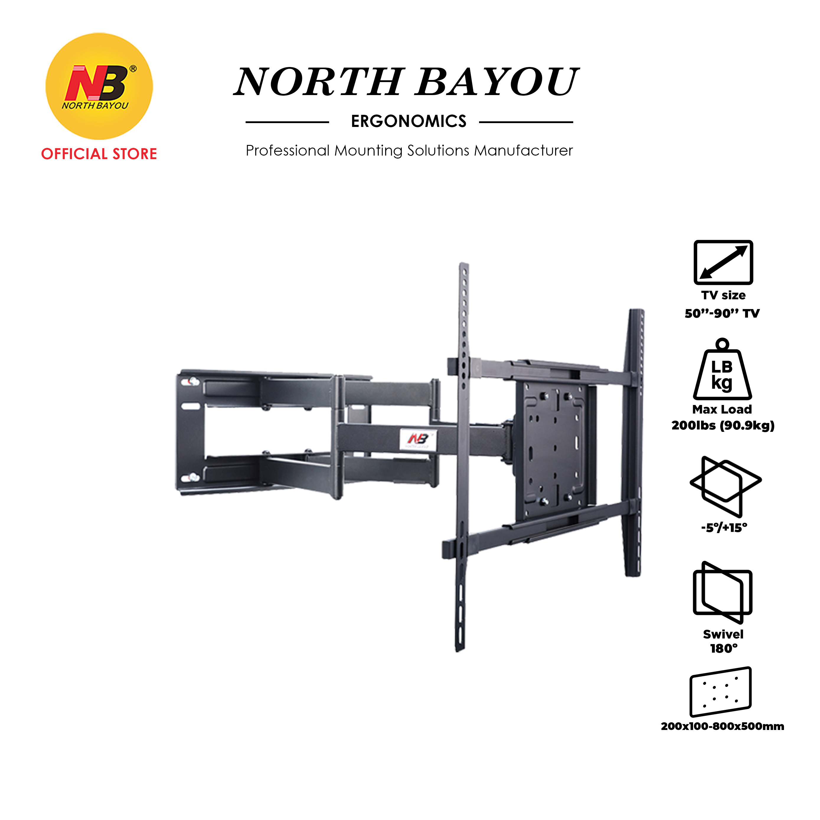 """NB North Bayou NB SP5 Heavy Duty 140 Rotation Double Hand TV Cantilever Mount Fit 50"""" to 90"""" LCD LED Flat Panel TV"""