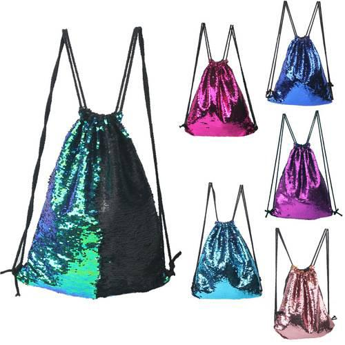 439f289954c5 Beach Mermaid Sequin Drawstring Backpack Portable Glittering ...