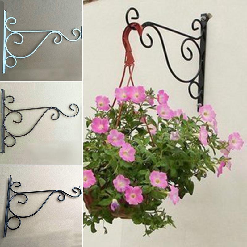 Iron Wall Hanging Rack Flower Hook Bracket Hanger Art Plant Holder Garden Decor