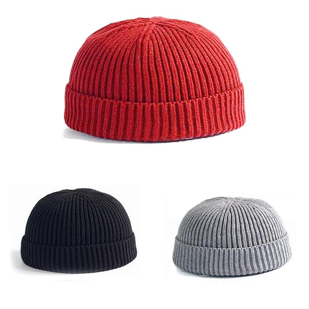 8ab6dd9d3 Simple Solid Color Short Knitted Cap Vintage Men Women Winter Warm Beanie  Hat