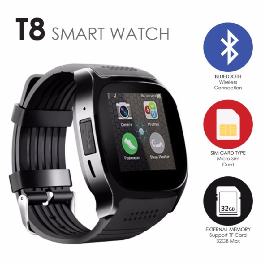 T8 1 54 inch IPS Touch Screen Camera SIM Card Memory Card Bluetooth Smart  Watch