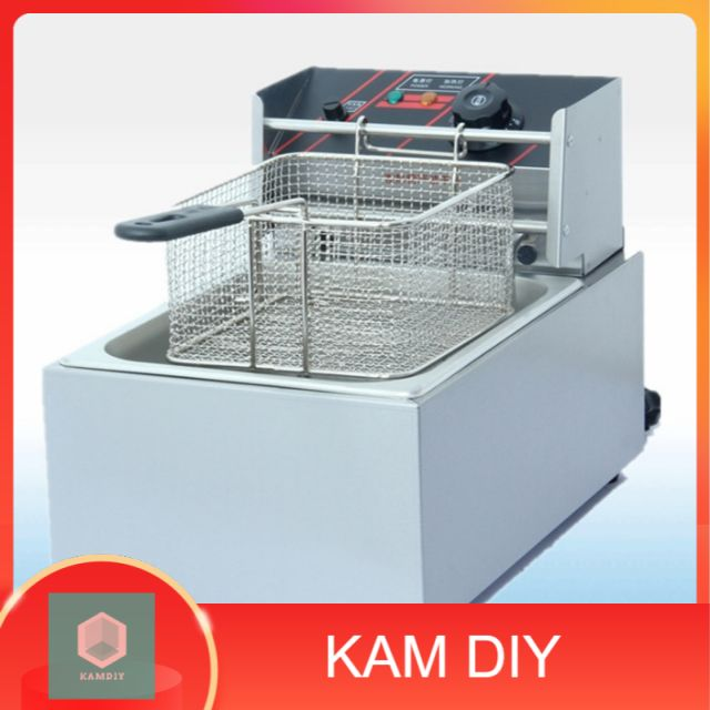 (Malaysia 3pin plug)  6L commercial stainless Steel single tank electric deep fryer  - 1 basket