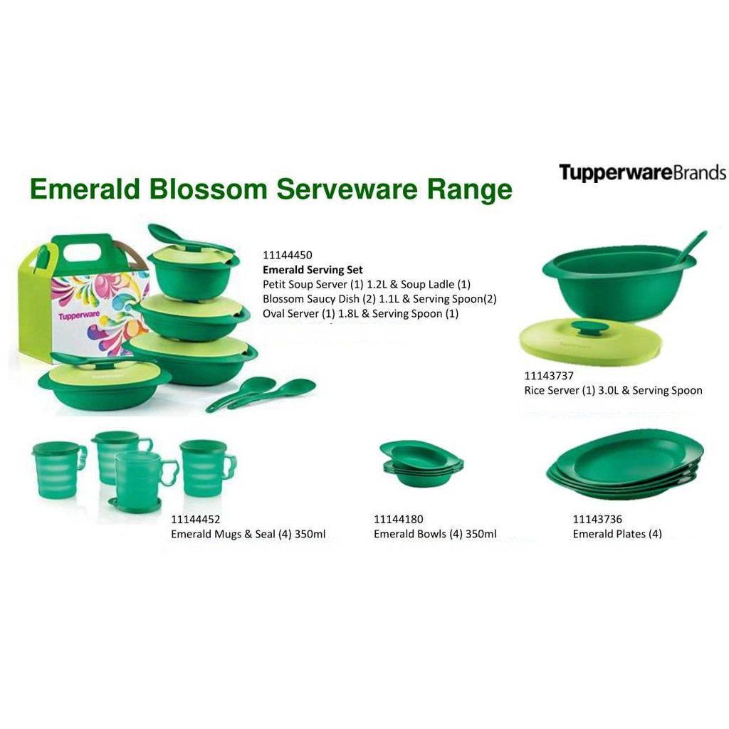 Tupperware Emerald Green Blossom Microwaveable Set With Mugs Plates Bowls