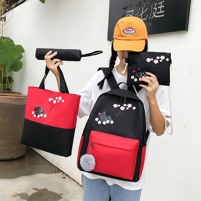Girl Backpack Cat Japan Sakura Backpack 4 IN ONE Sets 少女背包猫猫 BP0016
