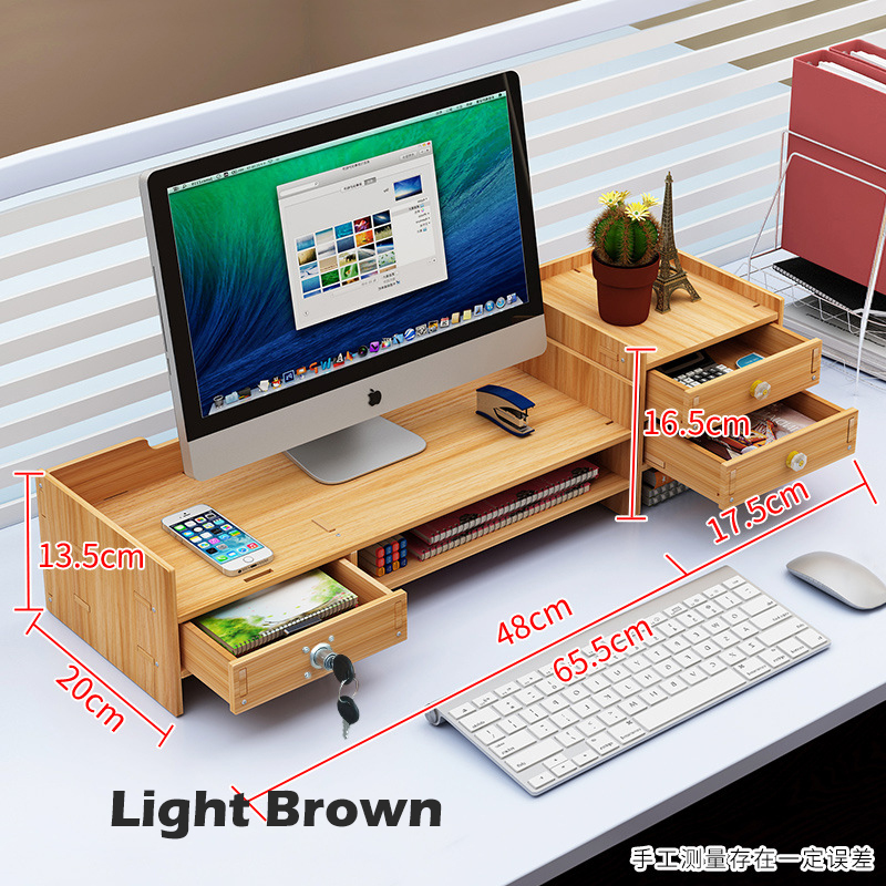 GDeal Computer Monitor Booster Rack Wooden Office Desk Storage Organizer Rack Storage Rack Storage Box