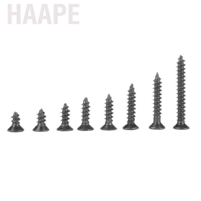 Wood Screws Kit 800pcs M2 Black Carbon Steel Countersunk Flat Cross Head Self Tapping Screws with 8 Different Lengths