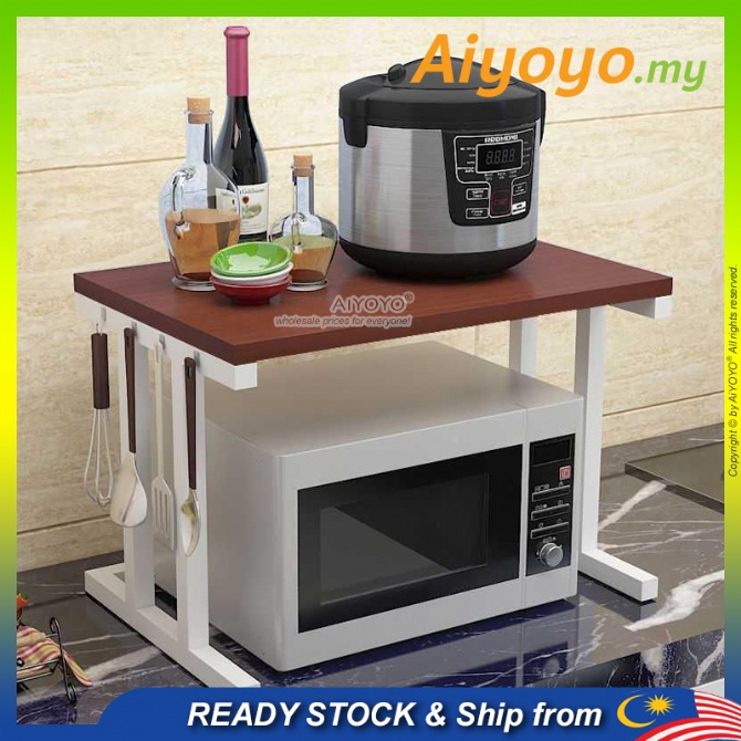 2 Tiers 2 Layer Wooden Microwave Oven Rack With Hook Electric Rice Cooker Storage Rack Kitchen Shelf Organizer Shelves E