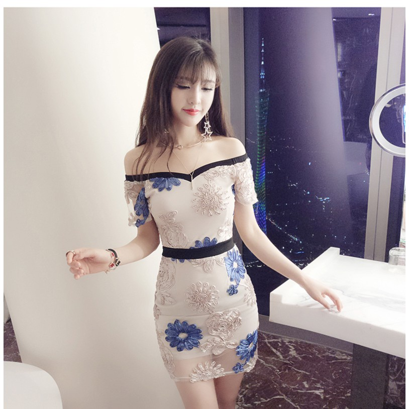 Women Luxury Elegant Sexy Dress/Dinner/Prom/Pub/Clubbing/Off Shoulder 晚礼服一字领连衣裙