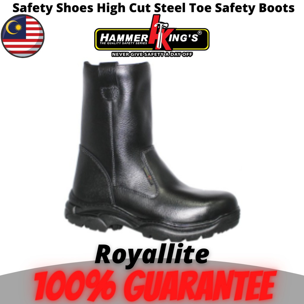 Safety Shoes Boots Steel Toe Cap Steel Mid Plate High Cut Pull Up Premium Quality Genuine Leather Hammer King (13022)