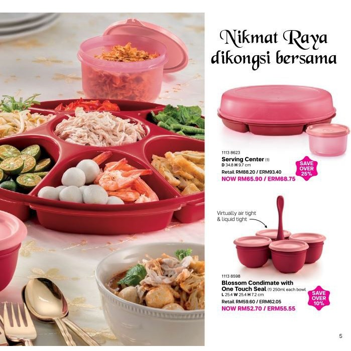 Tupperware Royal Red Blossom Bowls / Condimate Set  / Serving Center Collection