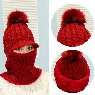 e6a38f6eb 1 Pcs Women Neck warmer knit ski cap scarf cold warm fur lining winter hat