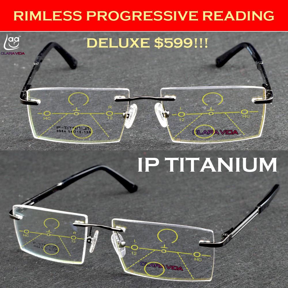 45ed3aa168e Deluxe Rimless IP TITANIUM Progressive Multifocal Bifocal Reading glasses  +1to+4