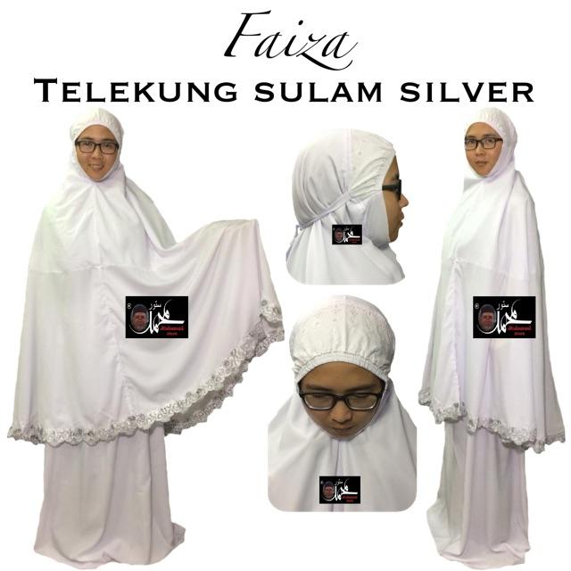 Faiza Telekung Sulam Silver (Kain Cotton)