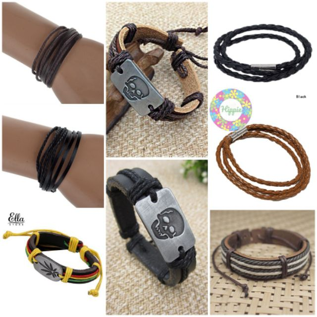 Ready Stock Msia Gelang Tangan Bracelet Leather Tali Hipster