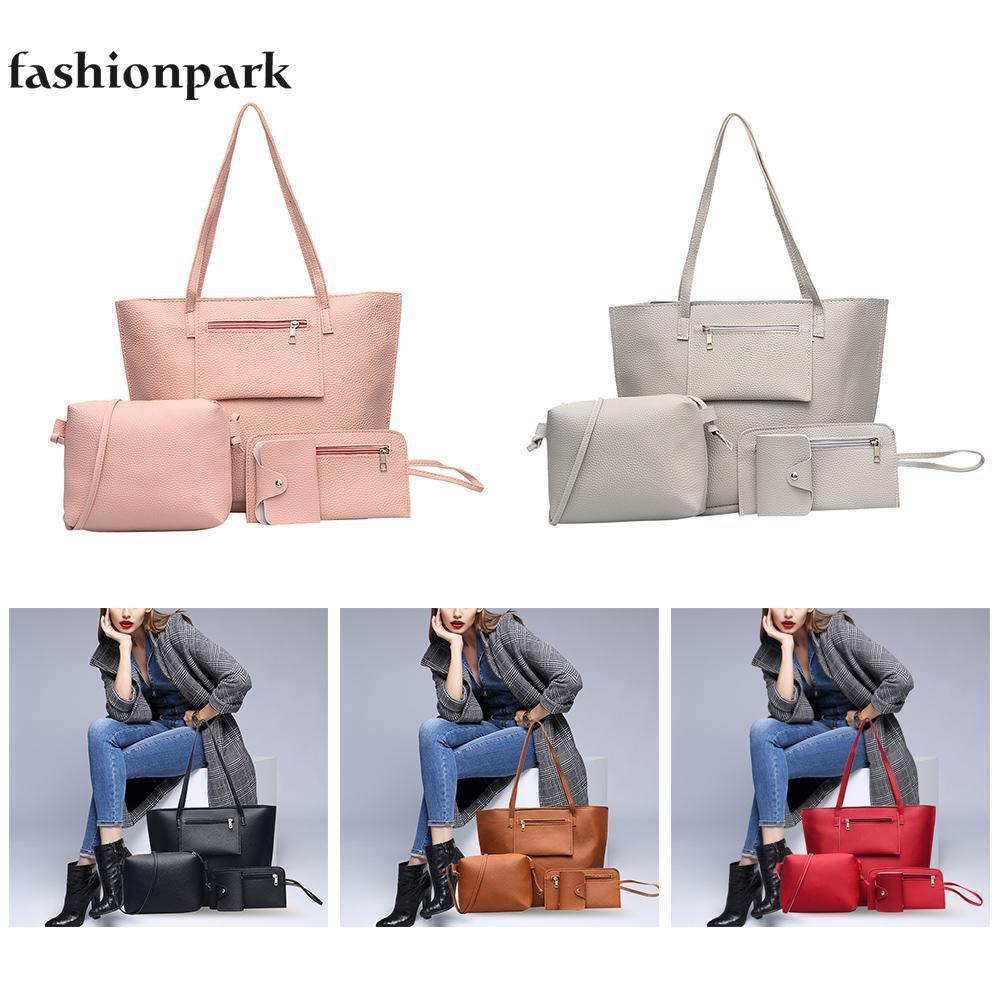 a92ffd64c2d6 4pcs/set Litchi Pattern Shoulder Handbags
