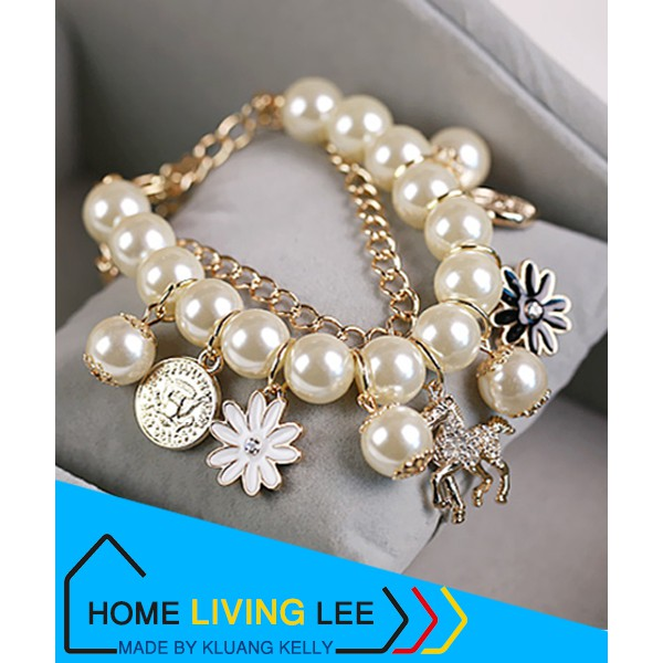 Korean Fashion Multilayer Simulated Pearl Beaded Bracelet Crystal Horse Flower Charm Bangle Bracelets For Women Jewelry