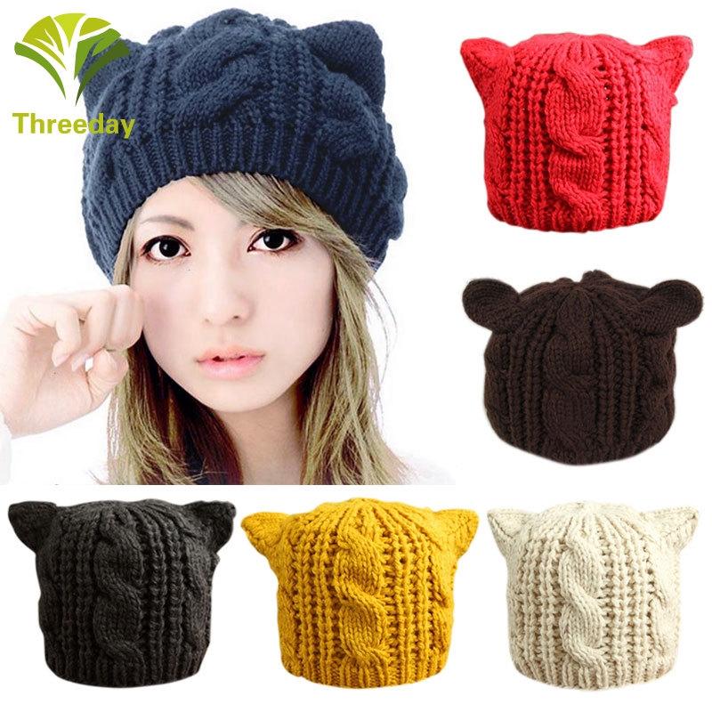 a91ed2e0a 3Day Fashion Winter Lady Girls Winter Warm Knitting Wool Cat Ear Beanie Ski  Hat Caps