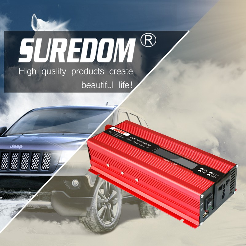 Red color Suredom car inverter 12V 220V LCD Display 2000W 2KW Off Grid home