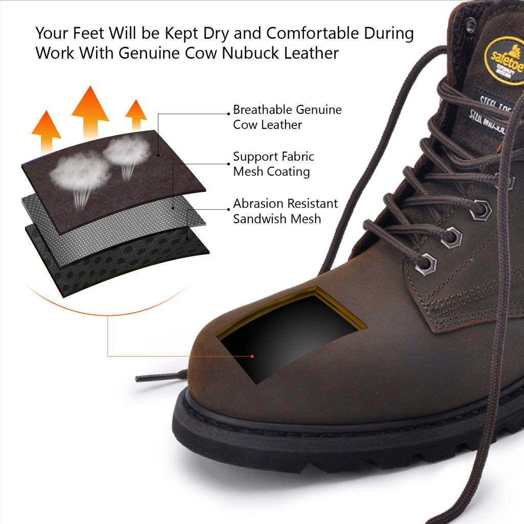 86297b53413 SAFEOE Safety Boots for Men & Women Steel Toe Leather Work Boot ...