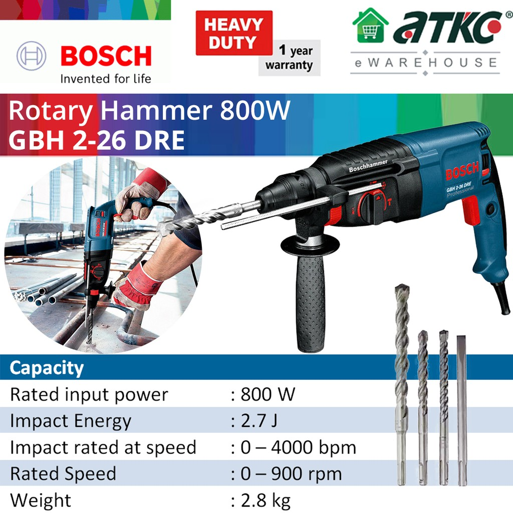 BOSCH GBH 2-26 DRE 3-Modes Rotary Hammer Professional with SDS-Plus 800W (061125376C)