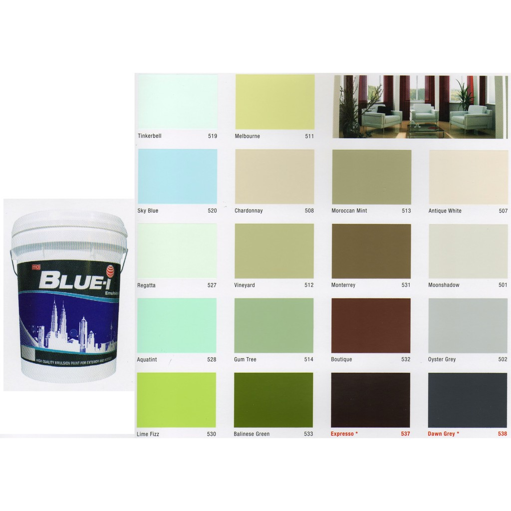 7l Mci Blue I Emulsion Paints For Ceiling Wall 7 Liter Cat Dinding Exterior Interior Shopee Malaysia