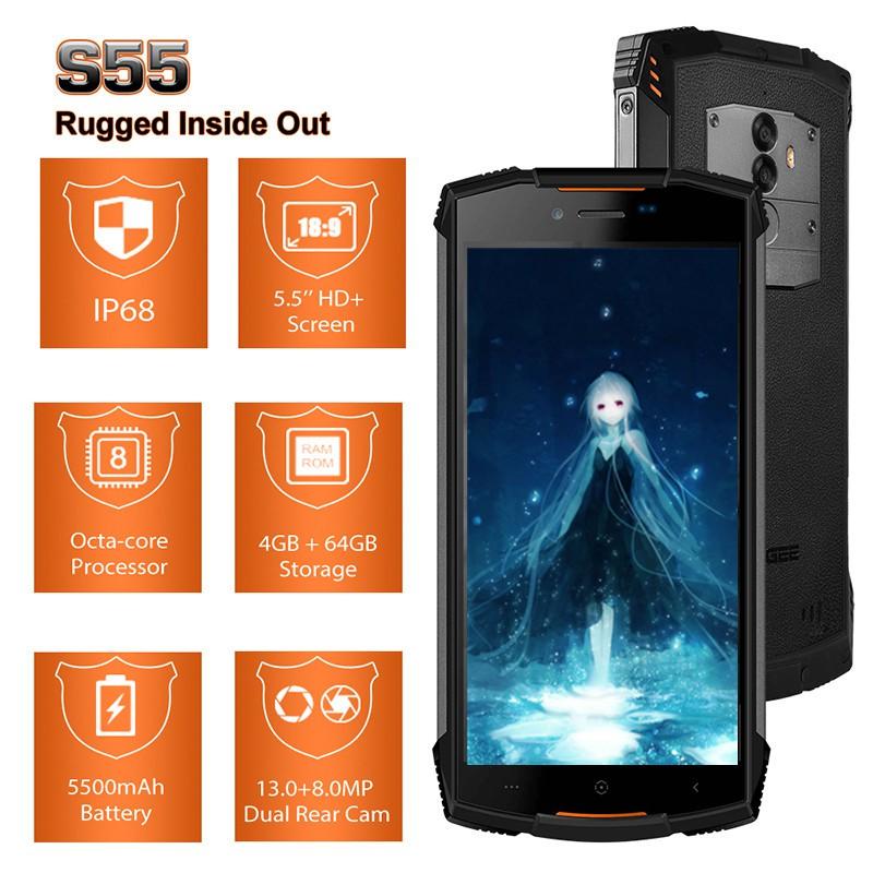 DOOGEE S55 Smartphones Android 8 0 Waterproof IP68 4GB RAM 64GB ROM Octa  Core 5 5inch Dual SIM 4G LTE Cell phones