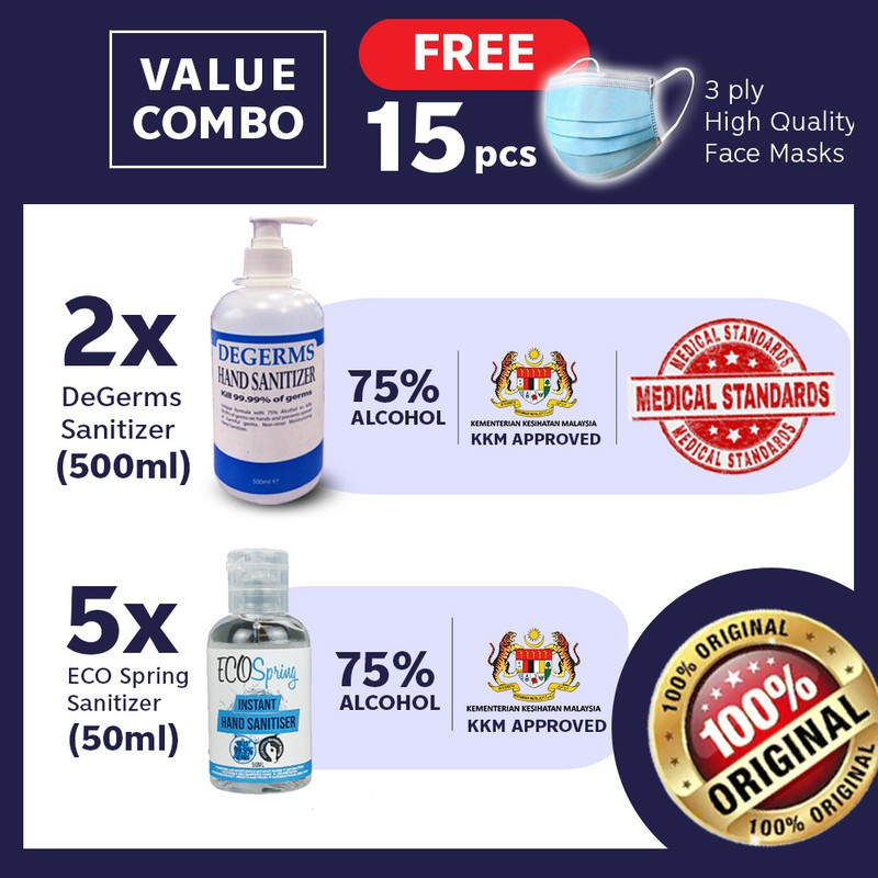 【75% Alcohol Sanitiser】2x Degerms 500mL + (5)Ecospring Hand Gel Free Face Cover