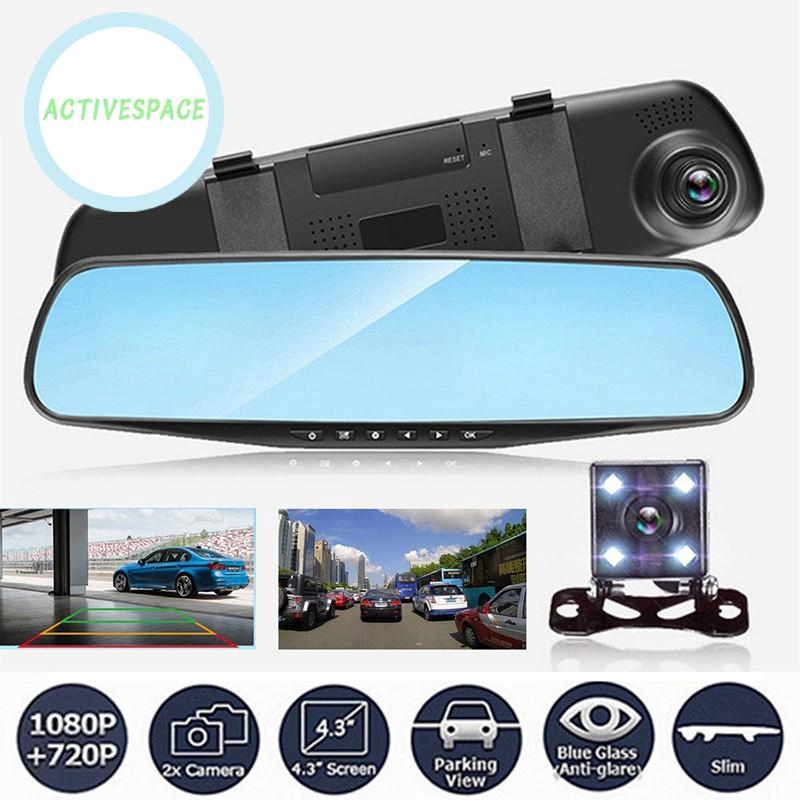 In-Car Technology, GPS & Security Dash Cams 4.3'' Car DVR HD 1080P Dual  Lens Mirror Dash Cam Recorder Rear Camera G-Sensor Dash Cams Vehicle Parts  & Accessories