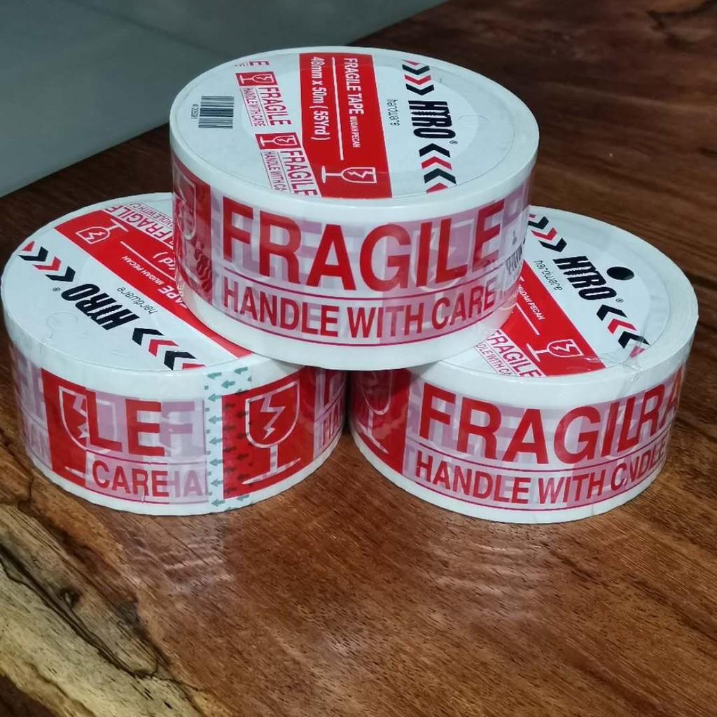 Sticker Mudah Pecah - Fragile Tape 48mm x 50m ( 55 YARD ) - (1 Roll )