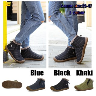 Women Flat Snow Shoes Men Winter Warm Ankle Boots Men's Waterproof Cotton Boots