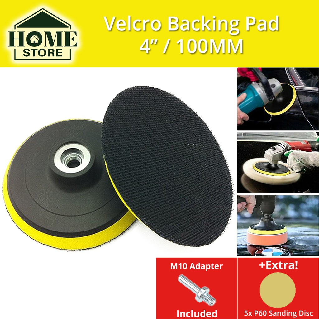 Velcro Backing Pad 4'' (100MM) M10 Thread with Adapter For Angle Grinder / Drill