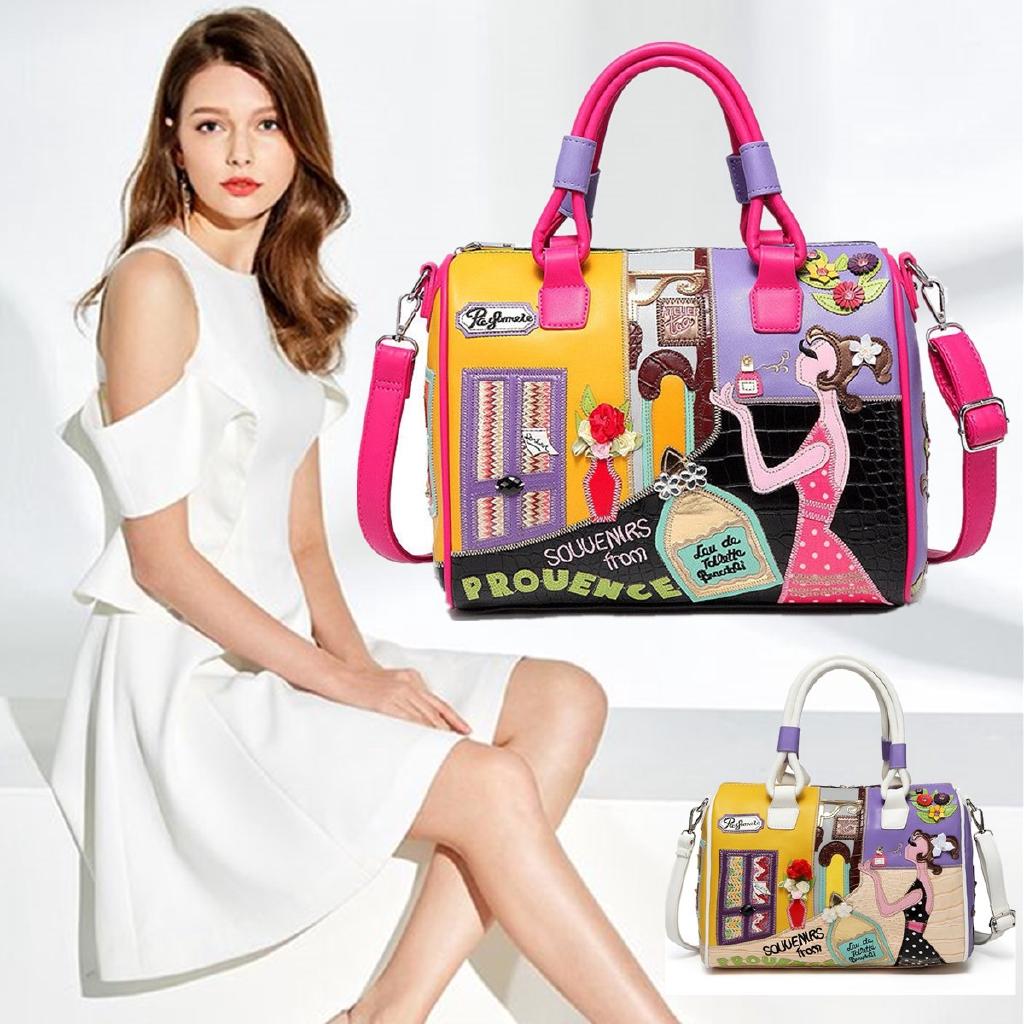 Women Lady Cartoon Colourful Embroidery Travel Handbag Messenger Shoulder Bags