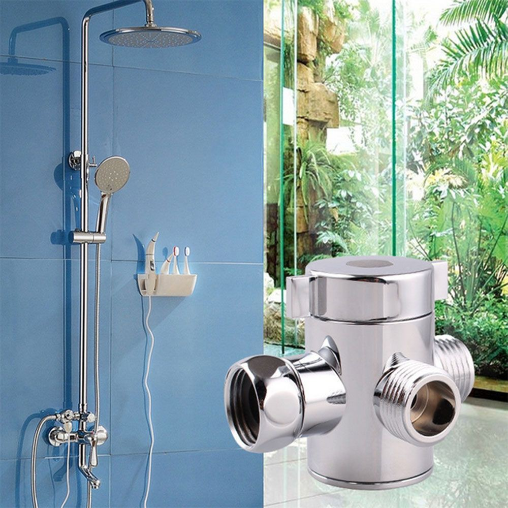 3-Way T-adapter Shower Head Arm Mounted Diverter Bath Shower Head ...