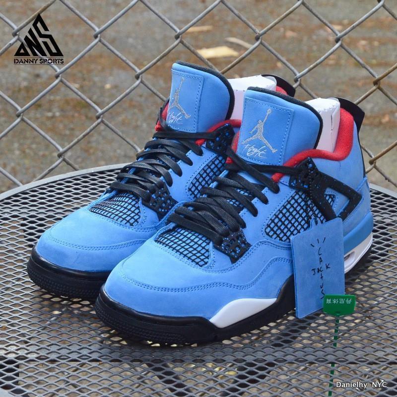 buy online 35be7 9171a Air Jordans Retro 4 Travis Scott Blue Black White Red 1