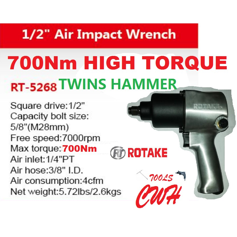 "TWINS HAMMER 1/2"" 700Nm 28MM RT-5268 ROTAKE SUPER DUTY AIR PNEUMATIC IMPACT WRENCH WRENCHES RT5268 SATA KING TOYO MRMARK"