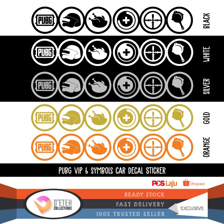 PUBG Playerunknowns Battlegrounds VIP 6 Symbols Car Decal Stickers (Die-Cut)