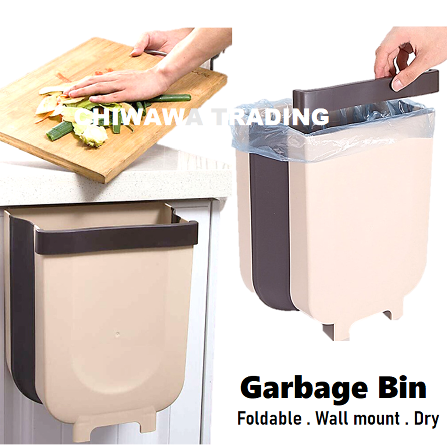 9L Foldable Wall Mounted Dry Garbage Rubbish Bin Waste Dustbin Trash Can for Bathroom Toilet Kitchen Car
