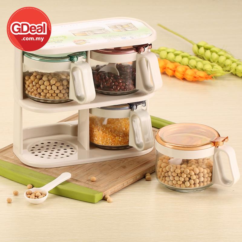 GDeal Kitchenware Glass Seasoning Jar Set Seasoning Box Spices Bottles Storage Bekas Simpanan